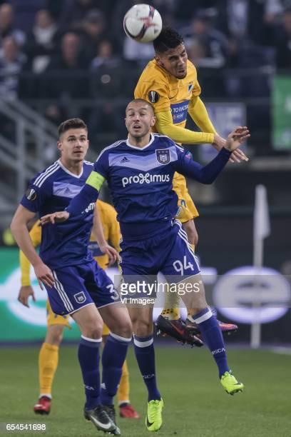 Leander Dendoncker of RSC Anderlecht Sofiane Hanni of RSC Anderlecht Igor De Camargo of Apoel FCduring the UEFA Europa League round of 16 match...