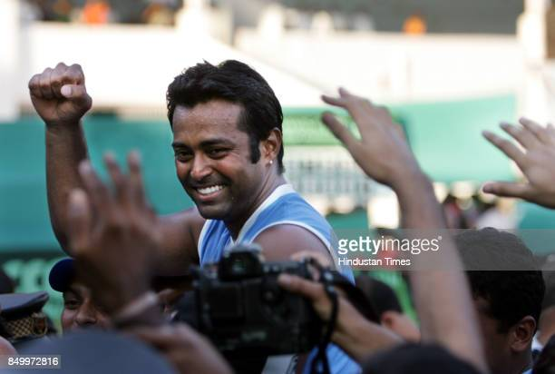 Leander Paes after his win over Aqeel Khan in the 5th singles match of the Asia Oceana Group 1 playoff tie at the Brabourne stadium CCI on Sunday...