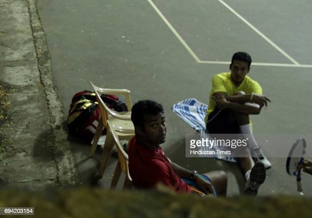 Leander Paes and Mahesh Bhupati practice at Khar Gymkhanna in mumbai on Tuesday