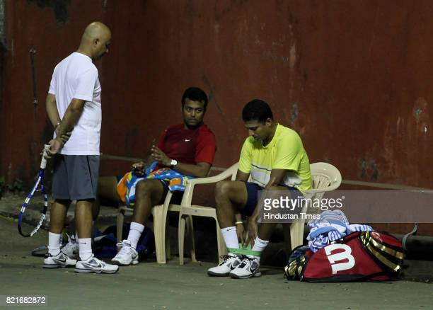 Leander Paes and Mahesh Bhupati practice at Khar Gymkhanna in Mumbai