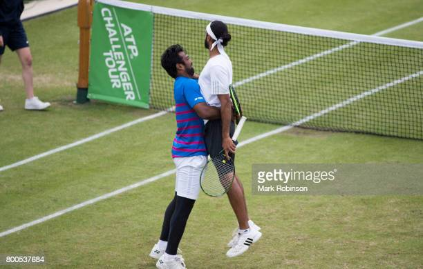 Leander Paes of India and Adil Shamasdin of Canada celebrate winning match point in th evens doubles final on June 24 2017 in Ilkley England