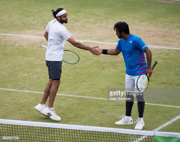 Leander Paes of India and Adil Shamasdin of Canada during the mens doubles final on June 24 2017 in Ilkley England