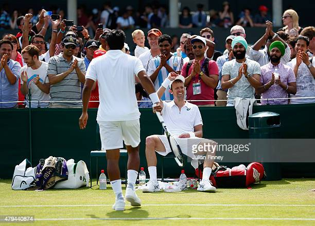 Leander Paes of India and partner Daniel Nestor of Canada celebrate winning in the Gentlemens Doubles Second Round match against Teymuraz Gabashvili...