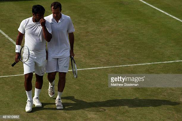 Leander Paes of India and Radek Stepanek of Czech Republic during their Gentlemen's Doubles third round match against JeanJulien Rojer of Netherlands...