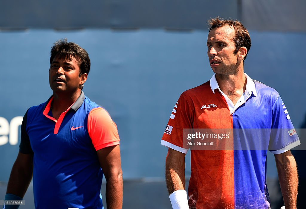 Leander Paes (L) of India and Radek Stepanek of the Czech Republic during hteir men's doubles match on Day Three of the 2014 US Open at the USTA Billie Jean King National Tennis Center on August 27, 2014 in the Flushing neighborhood of the Queens borough of New York City.