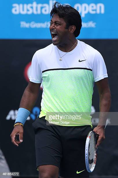Leander Paes of India celebrates a point in their first round doubles match with Raven Klaasen of South Africa against Scott Lipsky of the United...
