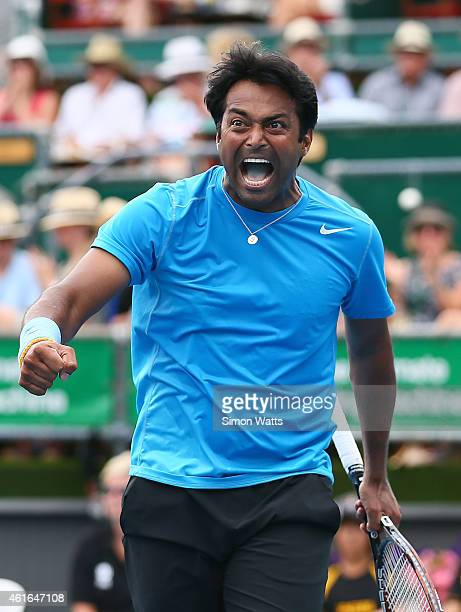 Leander Paes of India celebrates after winning his doubles final match with partner Raven Klassen of South Aftric against Dominic Inglot of Great...