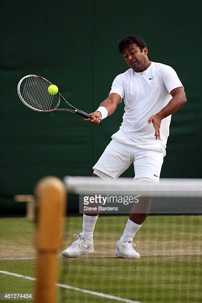 Leander Paes of India during his Gentlemen's Doubles first round match with Radek Stepanek of Czech Republic against Mariusz Fyrstenberg of Poland...