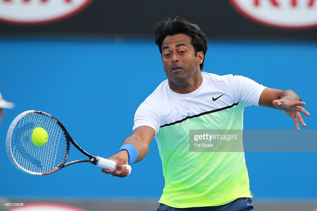 Leander Paes of India in action in their first round mixed doubles match with Martina Hingis of Switzerland against Masa Jovanovic and Sam Thompson of Australia during day seven of the 2015 Australian Open at Melbourne Park on January 25, 2015 in Melbourne, Australia.