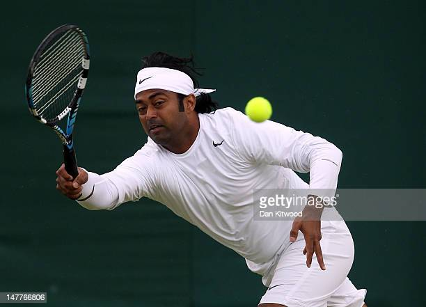 Leander Paes of India in action while playing with Radek Stepanek of the Czech Republic during their Gentlemen's Doubles third round match against...