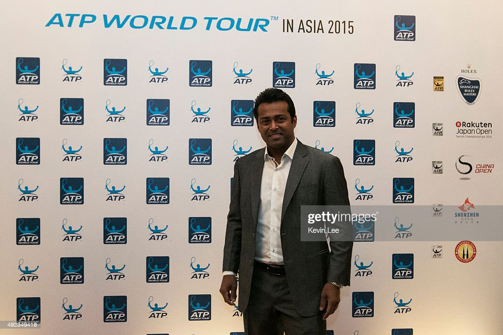 <a gi-track='captionPersonalityLinkClicked' href=/galleries/search?phrase=Leander+Paes&family=editorial&specificpeople=215327 ng-click='$event.stopPropagation()'>Leander Paes</a> poses for a picture pose for a picture at ATP World Tour in Asia 2015 on October 12, 2015 in Shanghai, China.
