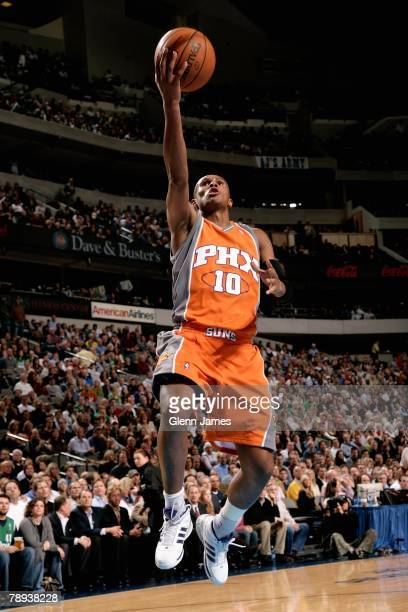 Leando Barbosa of the Phoenix Suns lays the ball up during the game against the Dallas Mavericks on December 19 2007 at American Airlines Center in...