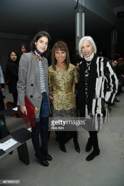 Leandra Medine Alina Cho and Linda Fargo attend the Sally LaPointe show during MercedesBenz Fashion Week Fall 2014 at Skylight Modern on February 7...