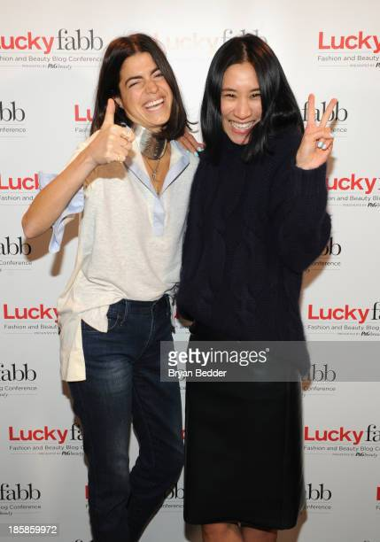 Leandra Medine and Editor in Chief of Lucky Eva Chen attend Lucky Magazine's TwoDay East Coast FABB Fashion and Beauty Blog Conference Day 2 on...