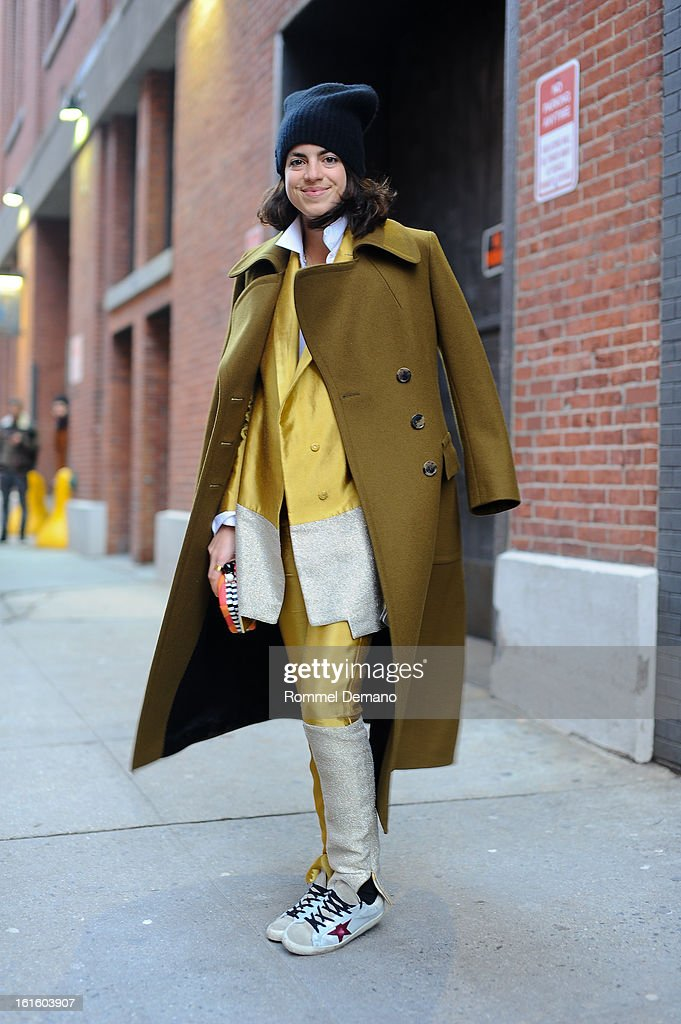 Leandra Medine, fashion blogger, seen outside the Sophie Theallet wearing Dries Van Noten jacket and Elleri suit on February 12, 2013 in New York City.