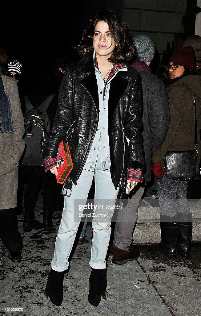 Leandra Medine seen leaving the Alexander Wang show on February 9, 2013 in New York City.