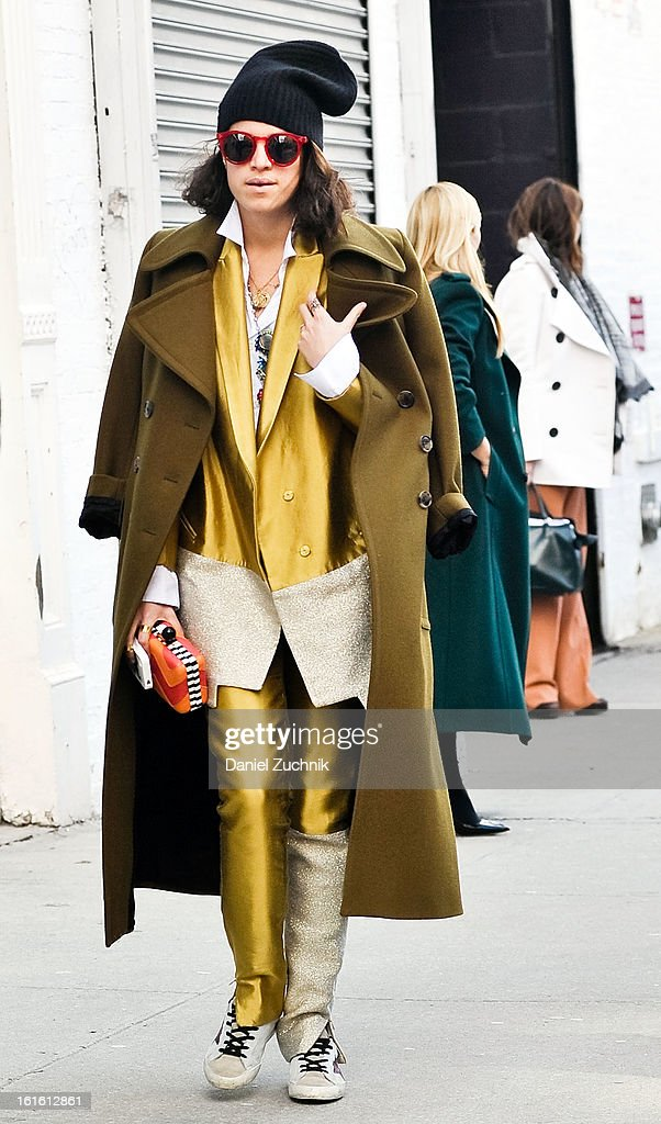 Leandra Medine seen outside the Rodarte show wearing a Dries Van Noten jacket and a Elie Tahari suit on February 12, 2013 in New York City.