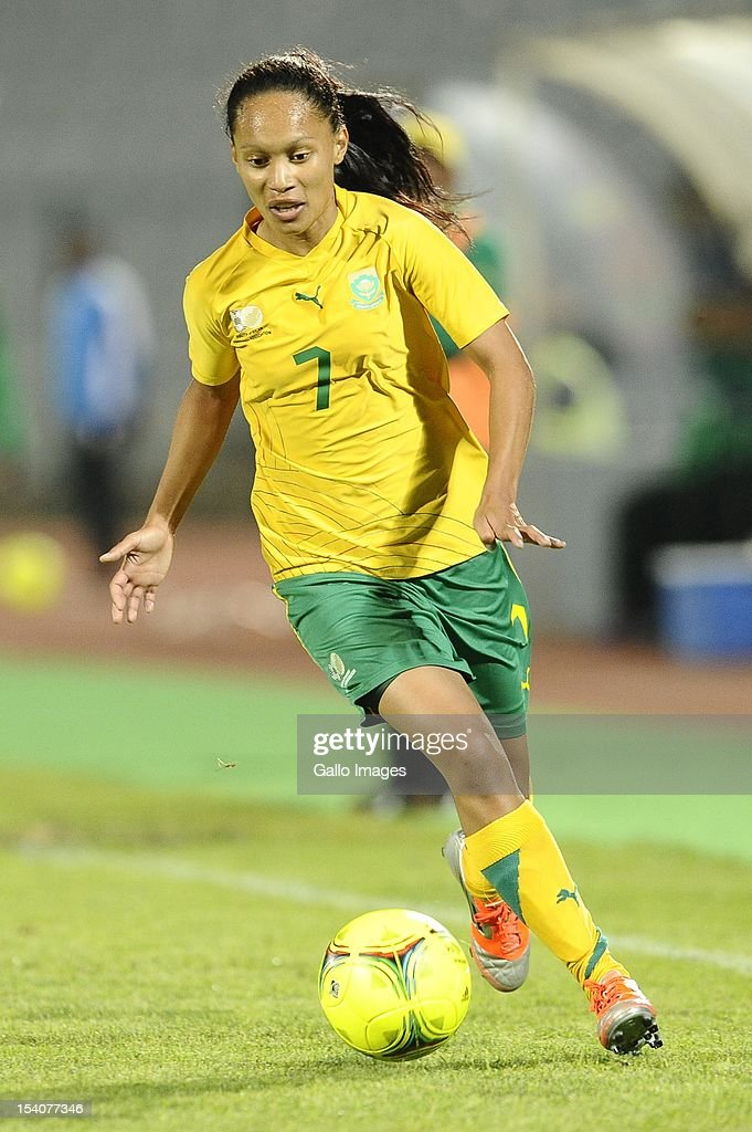 Leandra Smeda in action during the Womens International Friendly match between South Africa and Zimbabwe from Volkswagen Dobsonville Stadium on October 13, 2012 in Dobsonville, South Africa.