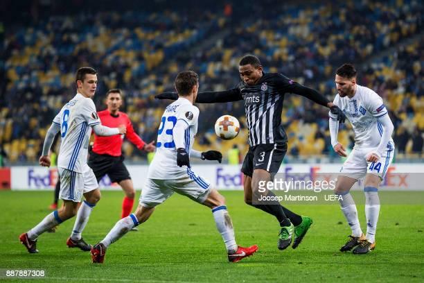 Leandre Tawamba of FK Partizan Belgrade controls the ball during the UEFA Europa League group B match between FC Dynamo Kyiv and FK Partizan Belgrade...