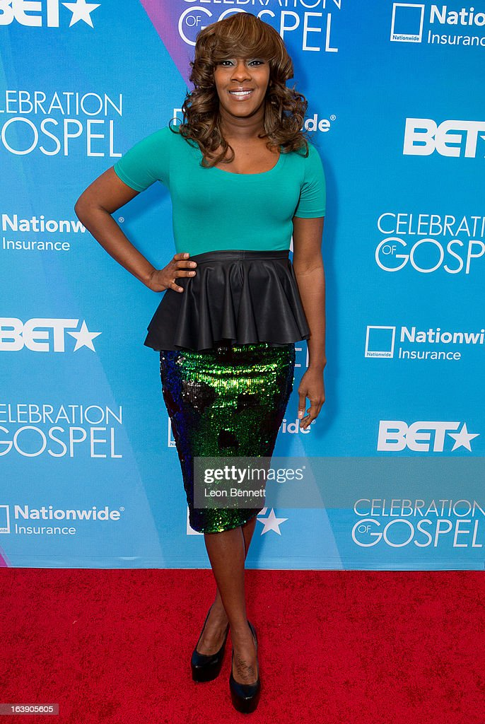 Le'Andria Johnson arrives at the BET Network's 13th Annual 'Celebration of Gospel' at Orpheum Theatre on March 16, 2013 in Los Angeles, California.
