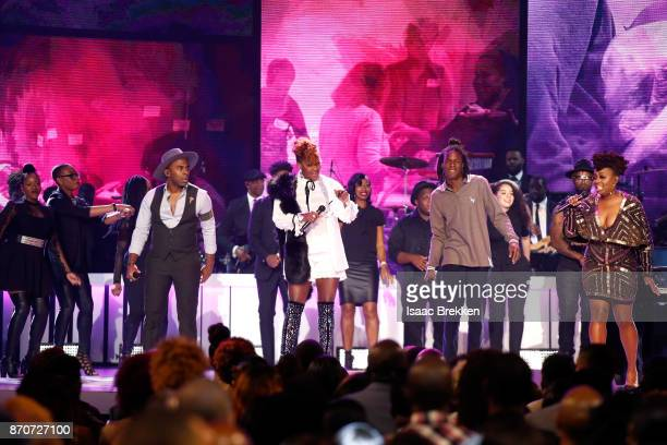 MAJOR Le'Andria Johnson Daniel Caesar and Ledisi perform onstage at the 2017 Soul Train Awards presented by BET at the Orleans Arena on November 5...