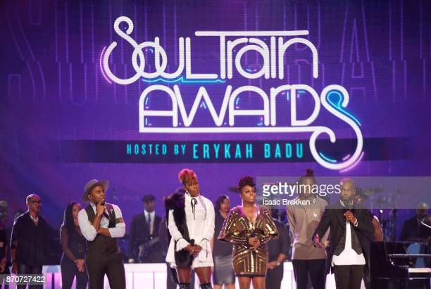 MAJOR Le'Andria Johnson Ledisi Daniel Caesar and Kirk Franklin perform onstage at the 2017 Soul Train Awards presented by BET at the Orleans Arena on...