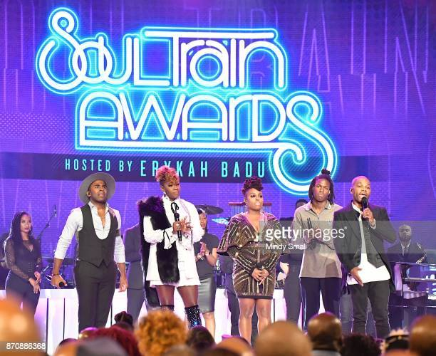 MAJOR Le'Andria Johnson Ledisi Daniel Caesar and Kirk Franklin perform during the 2017 Soul Train Music Awards at the Orleans Arena on November 5...