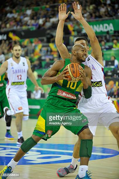 Leandrinho Barbosa of Brazil in action during the 2014 FIBA Basketball World Cup Group A match between Serbia and Brazil at Palacio de Deportes in...
