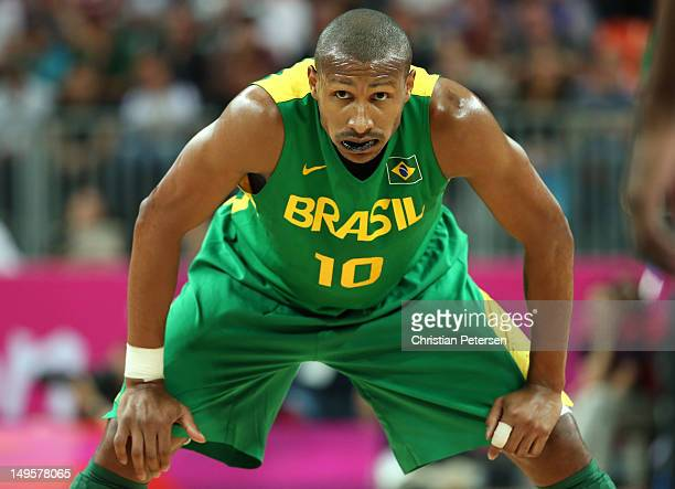 Leandrinho Barbosa of Brazil looks on in defence in the Men's Basketball Preliminary Round match between Great Britain and Brazil on Day 4 of the...