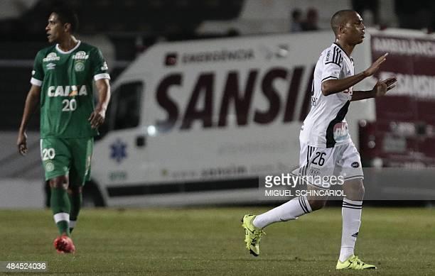 Leandrinho of Brazil's Ponte Preta celebrates his goal against Brazil's Chapecoense during their Copa Sudamericana football match at Moises Lucarelli...