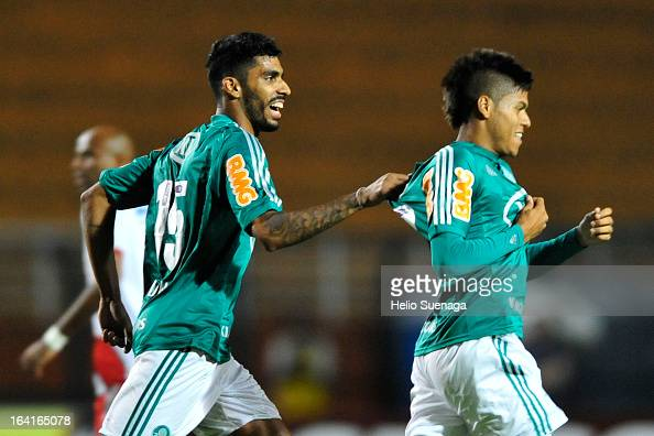 Leandro Amaro of Palmeiras celebrates a goal during the match between Palmeiras and Botafogo as part of the Paulista Championship 2013 at Pacaembu...