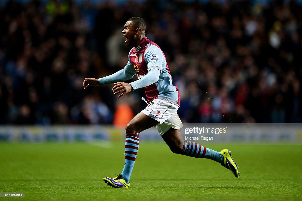 Leandro Bacuna of Aston Villa celebrates after scoring his team's opening goal during the Barclays Premier League match between Aston Villa and Cardiff City at Villa Park on November 9, 2013 in Birmingham, England.