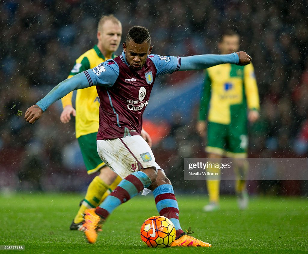 Leandro Bacuna of Aston Villa during the Barclays Premier League match between Aston Villa and Norwich City at Villa Park on February 06, 2016 in Birmingham, England.