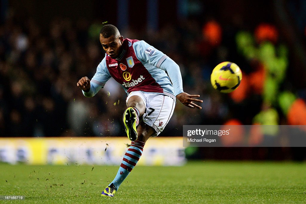 Leandro Bacuna of Aston Villa scores his team's opening goal during the Barclays Premier League match between Aston Villa and Cardiff City at Villa Park on November 9, 2013 in Birmingham, England.