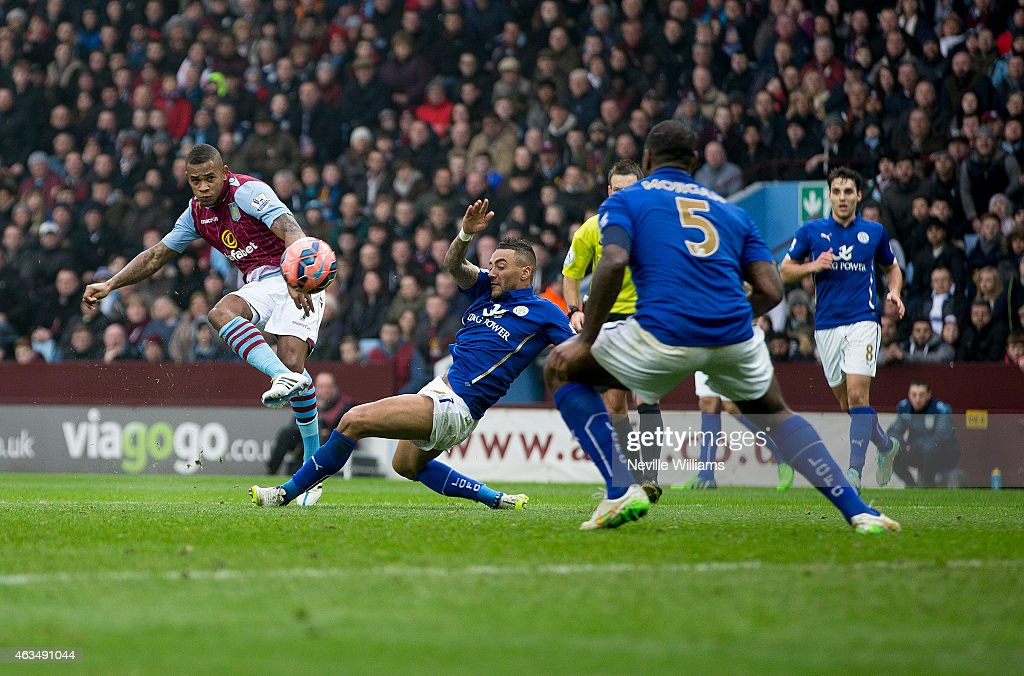 Leandro Bacuna of Aston Villa scores the opening goal during the FA Cup Fifth Round match between Aston Villa and Leicester City at Villa Park on February 15, 2015 in Birmingham, England.
