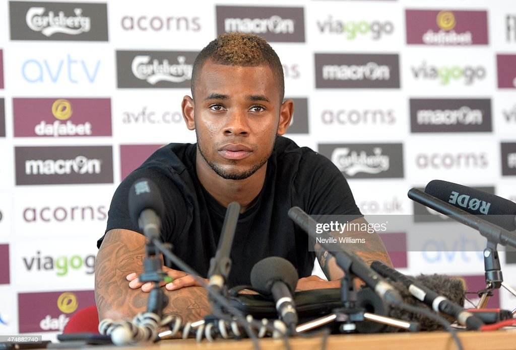 Leandro Bacuna of Aston Villa speaks to the media during the Aston Villa FA Cup Final media day at Bodymoor Heath training ground on May 26, 2015 in Birmingham, England.
