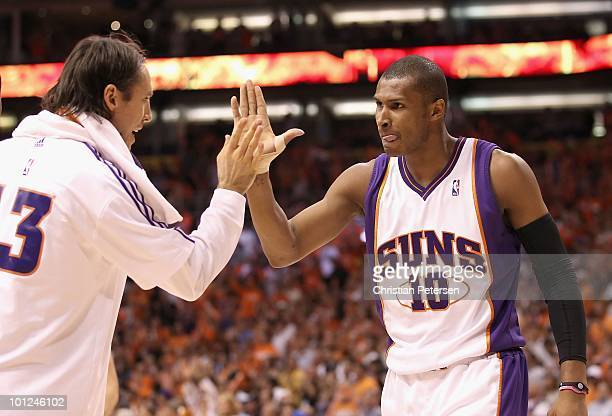 Leandro Barbosa #0 of the Phoenix Suns celebrates with teammate Steve Nash during Game Four of the Western Conference finals of the 2010 NBA Playoffs...