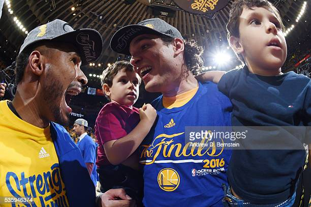 Leandro Barbosa and Anderson Varejao of the Golden State Warriors celebrate after the win for Game Seven of the Western Conference Finals during the...