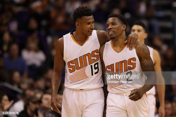 Leandro Barbosa and Eric Bledsoe of the Phoenix Suns react on the court during the second half of the NBA game against the Oklahoma City Thunder at...