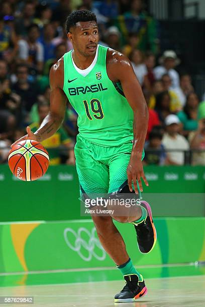 Leandro Barbosa of Brazil moves the ball during a preliminary round basketball game between Spain and Brazil on Day 4 of the Rio 2016 Olympic Games...