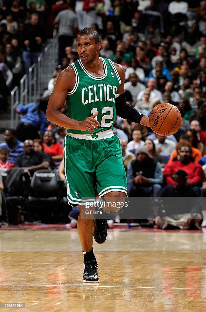 Leandro Barbosa #12 of the Boston Celtics brings the ball up the court against the Washington Wizards at Verizon Center on November 3, 2012 in Washington, DC. Boston won the game 89-86.