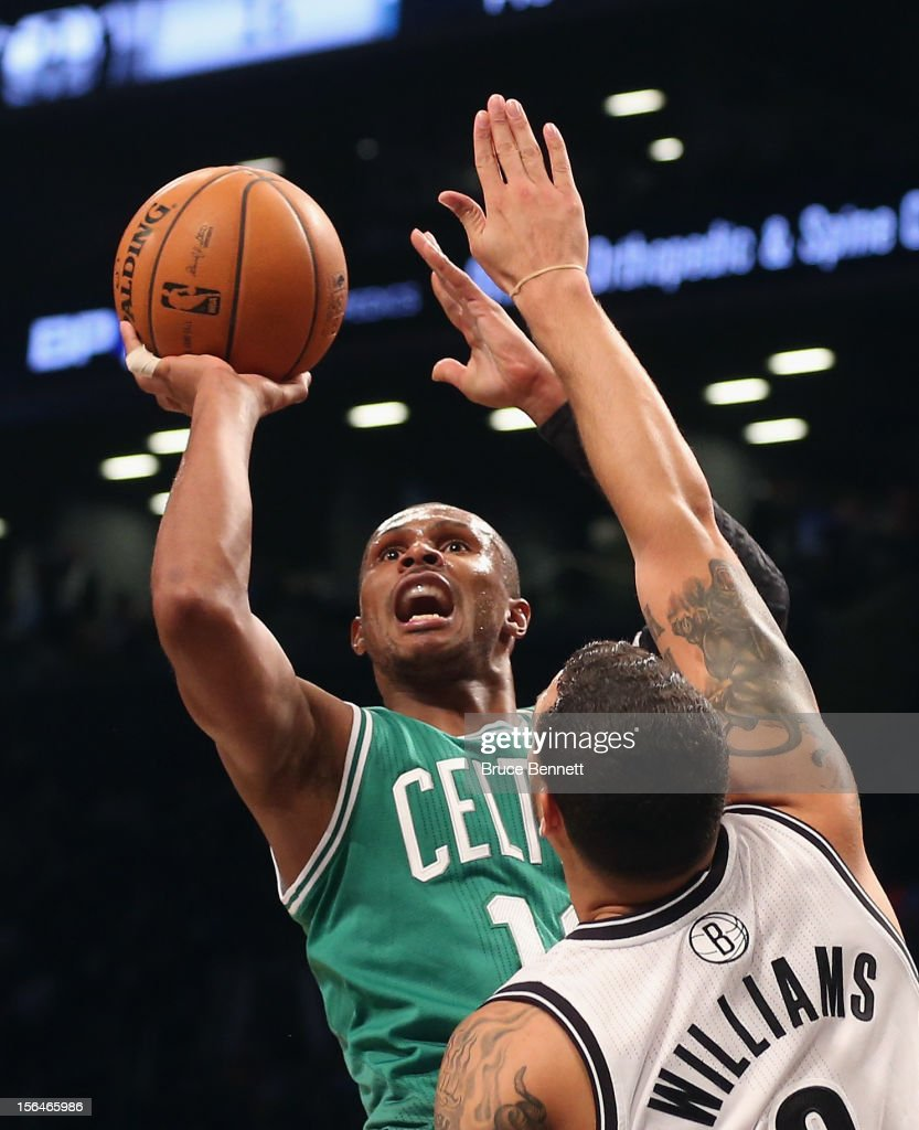 Leandro Barbosa #12 of the Boston Celtics draws a foul by Deron Williams #8 of the Brooklyn Nets in the second quarter at the Barclays Center on November 15, 2012 in the Brooklyn borough of New York City.