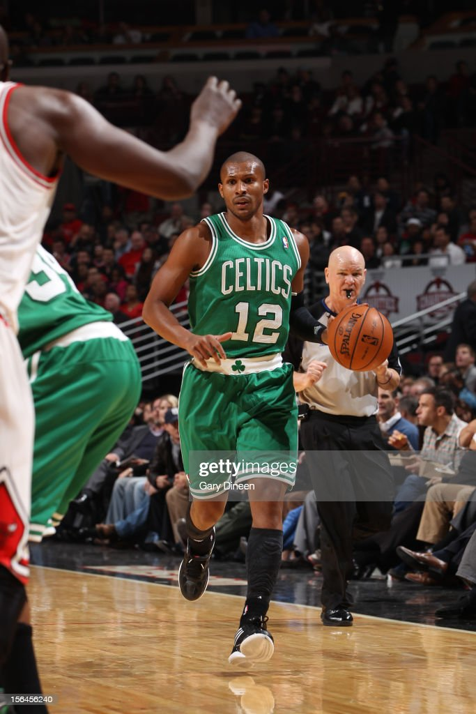 Leandro Barbosa #12 of the Boston Celtics dribbles the ball against the Chicago Bulls on November 12, 2012 at the United Center in Chicago, Illinois.