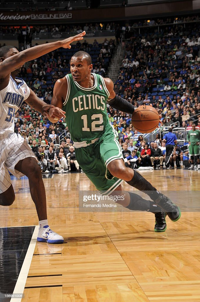 Leandro Barbosa #12 of the Boston Celtics drives during the game between the Boston Celtics and the Orlando Magic on November 25, 2012 at Amway Center in Orlando, Florida.