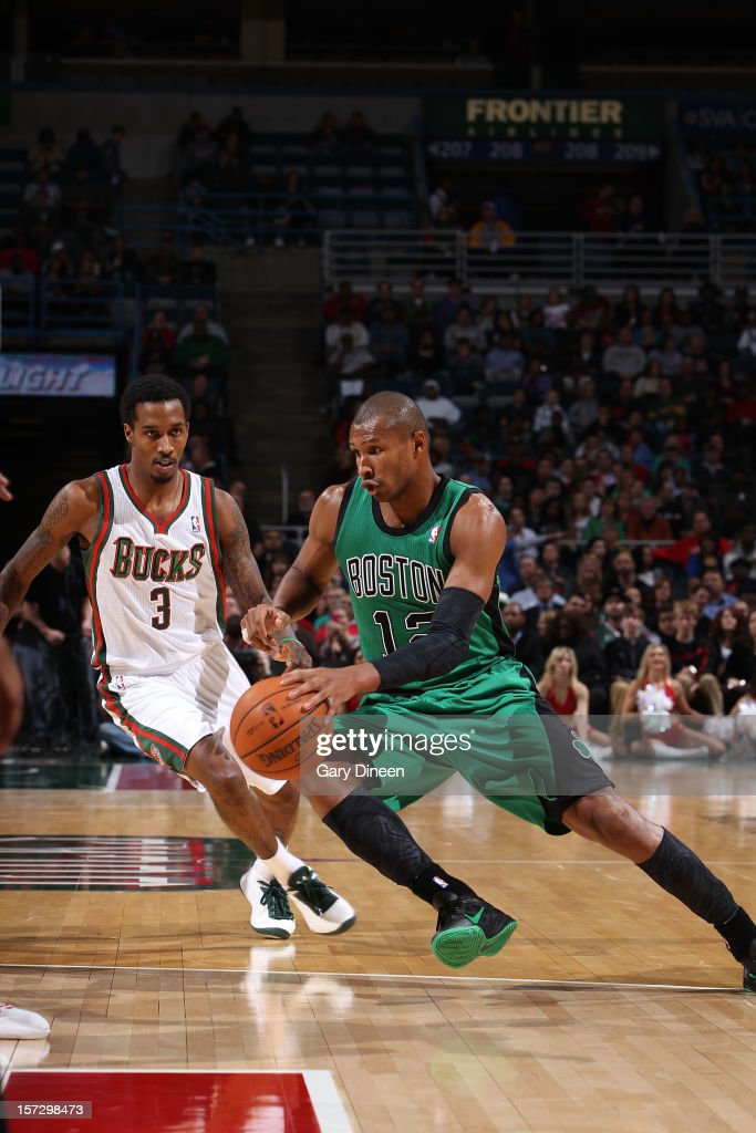 Leandro Barbosa #12 of the Boston Celtics drives to the basket against Brandon Jennings #3 of the Milwaukee Bucks during the NBA game on December 1, 2012 at the BMO Harris Bradley Center in Milwaukee, Wisconsin.