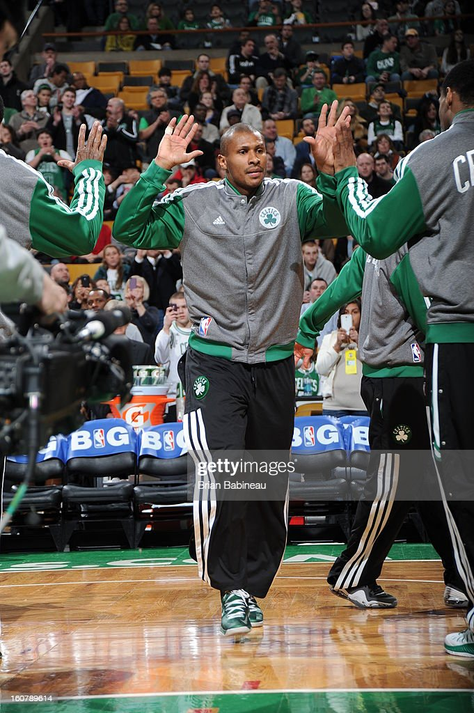 Leandro Barbosa #12 of the Boston Celtics enters the court during opening announcements before the game against the Chicago Bulls on January 18, 2013 at the TD Garden in Boston, Massachusetts.