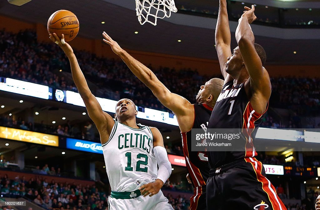 Leandro Barbosa #12 of the Boston Celtics goes up for a layup against the Miami Heat during the game on January 27, 2013 at TD Garden in Boston, Massachusetts.