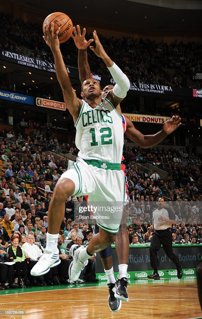 Leandro Barbosa #12 of the Boston Celtics goes up for the layup against the Washington Wizards on November 7, 2012 at the TD Garden in Boston, Massachusetts.