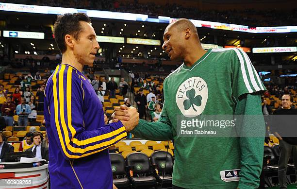 Leandro Barbosa of the Boston Celtics greets with Steve Nash of the Los Angeles Lakers before their game on February 7 2013 at the TD Garden in...