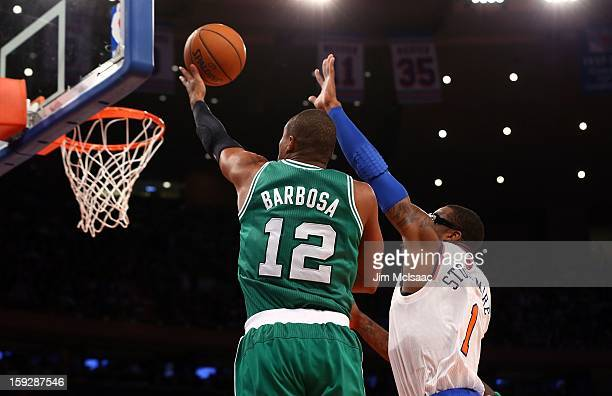 Leandro Barbosa of the Boston Celtics in action against Amar'e Stoudemire of the New York Knicks at Madison Square Garden on January 7 2013 in New...